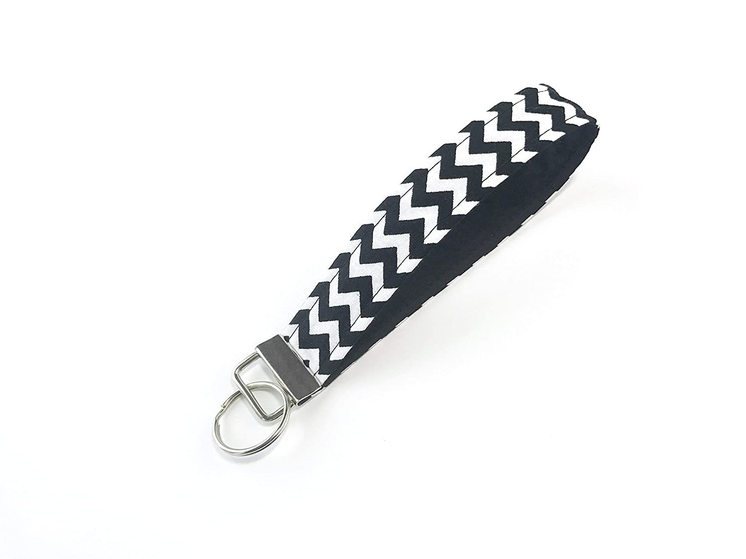 Modern Black Chevron Keychain Keyfob for Keys