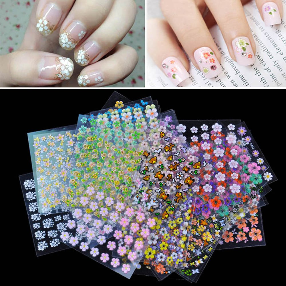 Stickers decals nail stickers nail art decals fashion - Anself 50 Sheet 3d Mix Color Floral Design Nail Art Stickers Decals Manicure Beautiful Fashion Accessories