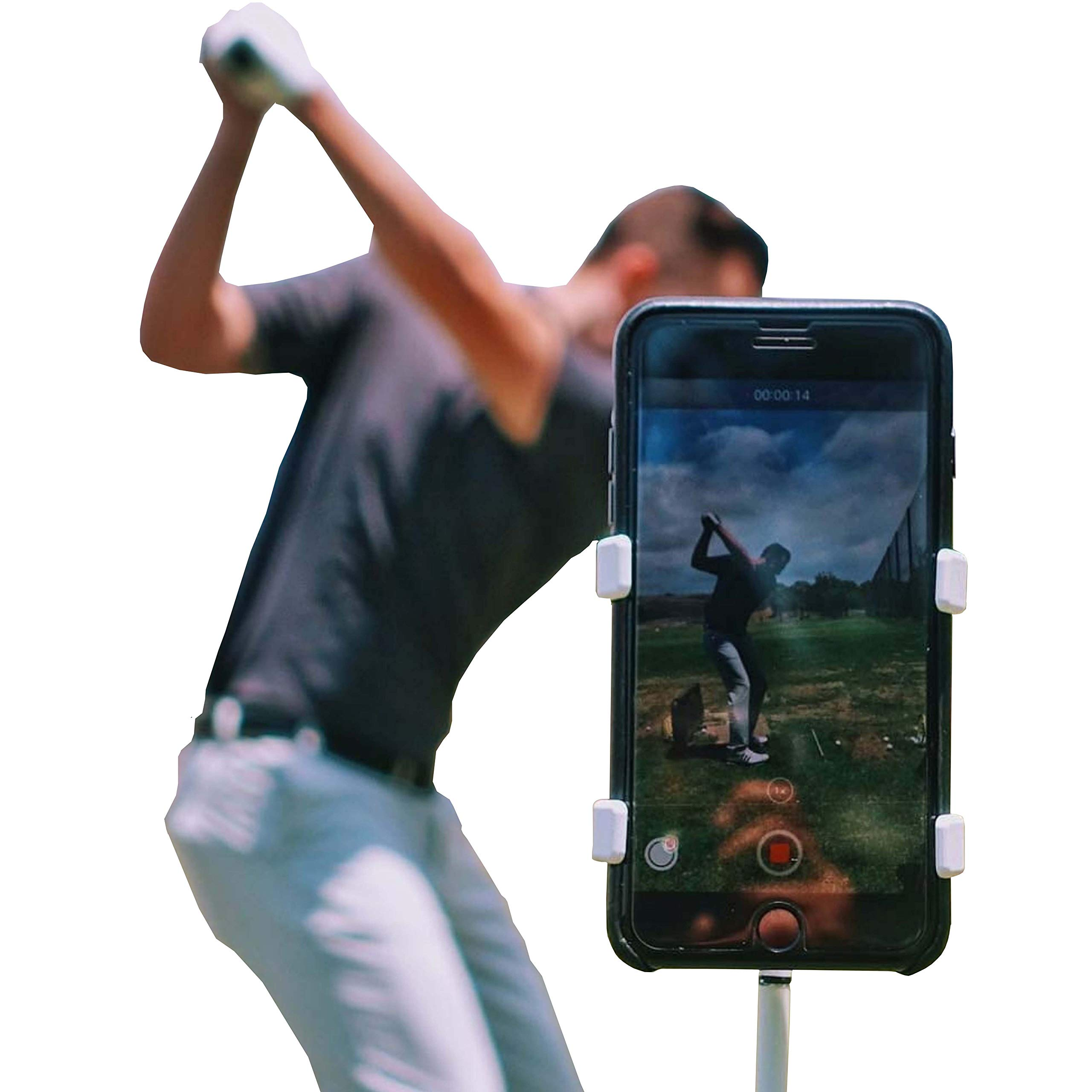 SelfieGolf Record Golf Swing - Cell Phone Clip Holder and Training Aid - Golf Accessories | Winner of The PGA Best Product | Works with Any Smart Phone, Quick Set Up (Blue/White) by Selfie Golf