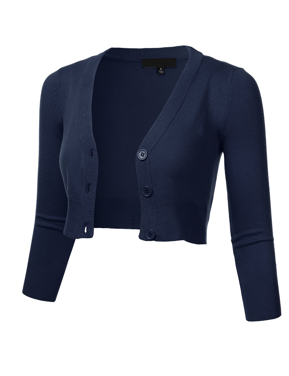 FLORIA Women Solid Button Down 3/4 Sleeve Cropped Bolero Cardigan Sweater Navy 4X