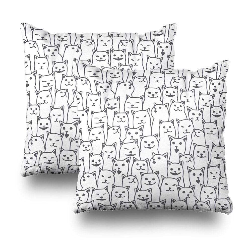 ONELZ Cat Kitten Breed Doodle Isolated Wall White Square Decorative Throw Pillowcase Two Sides Printed, Fashion Style Zippered Cushion Pillow Cover (18 x 18 inch)