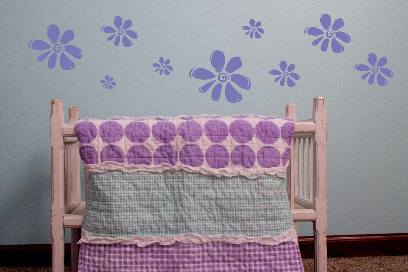 Wall Decor Plus More WDPM160 Purple GirlS Wall Sticker Flower Decals 9Pc Large Floral Decor Purple