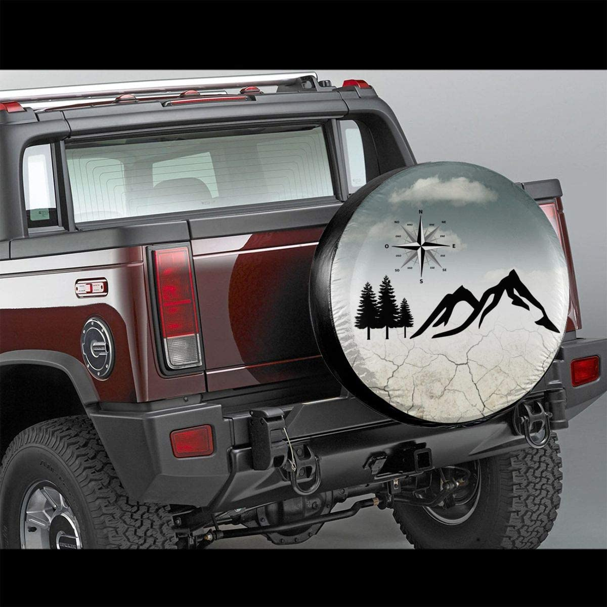 Rv Truck and Many Vehicle SUV MSGUIDE Nature Mountain Compass Spare Tire Cover Protector Universal Fit Tire Covers Wheel Diameter 23-33 Suit for Jeep Trailer