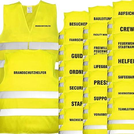 Bedruckt R/ückendruck Sicherheitsweste EN ISO 20471 Gelb Brandschutzhelfer Nashville print factory Warnweste mit Text