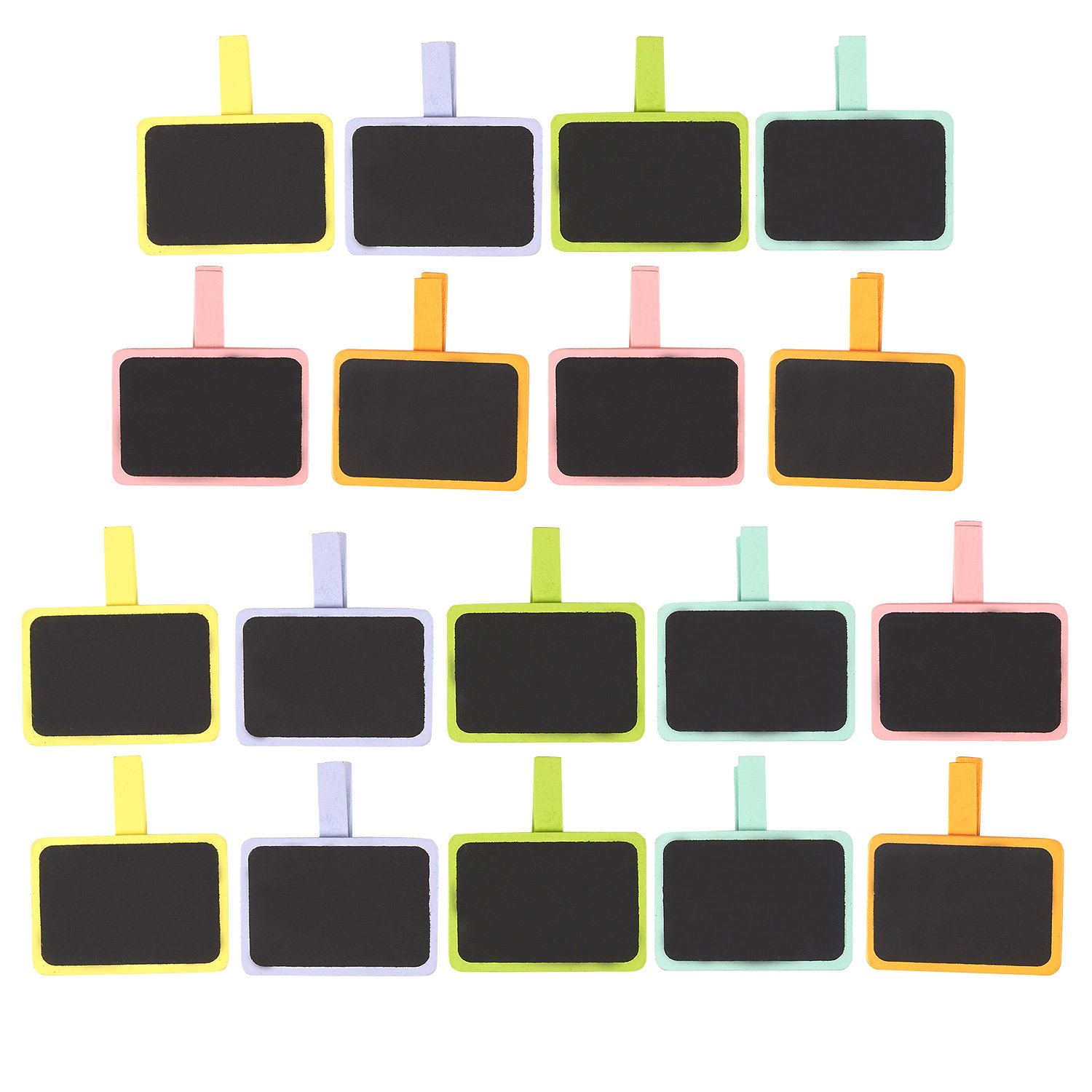 Mini Chalkboard Clips – 18-Pack Wooden Chalkboard Tags, Chalk Board Sign with Clothespin Clip, Wooden Clips for Weddings, Table Place Cards, Food Name Labels, 6 Colors, 3 of each, 2.5 x 1.6 Inches Juvale