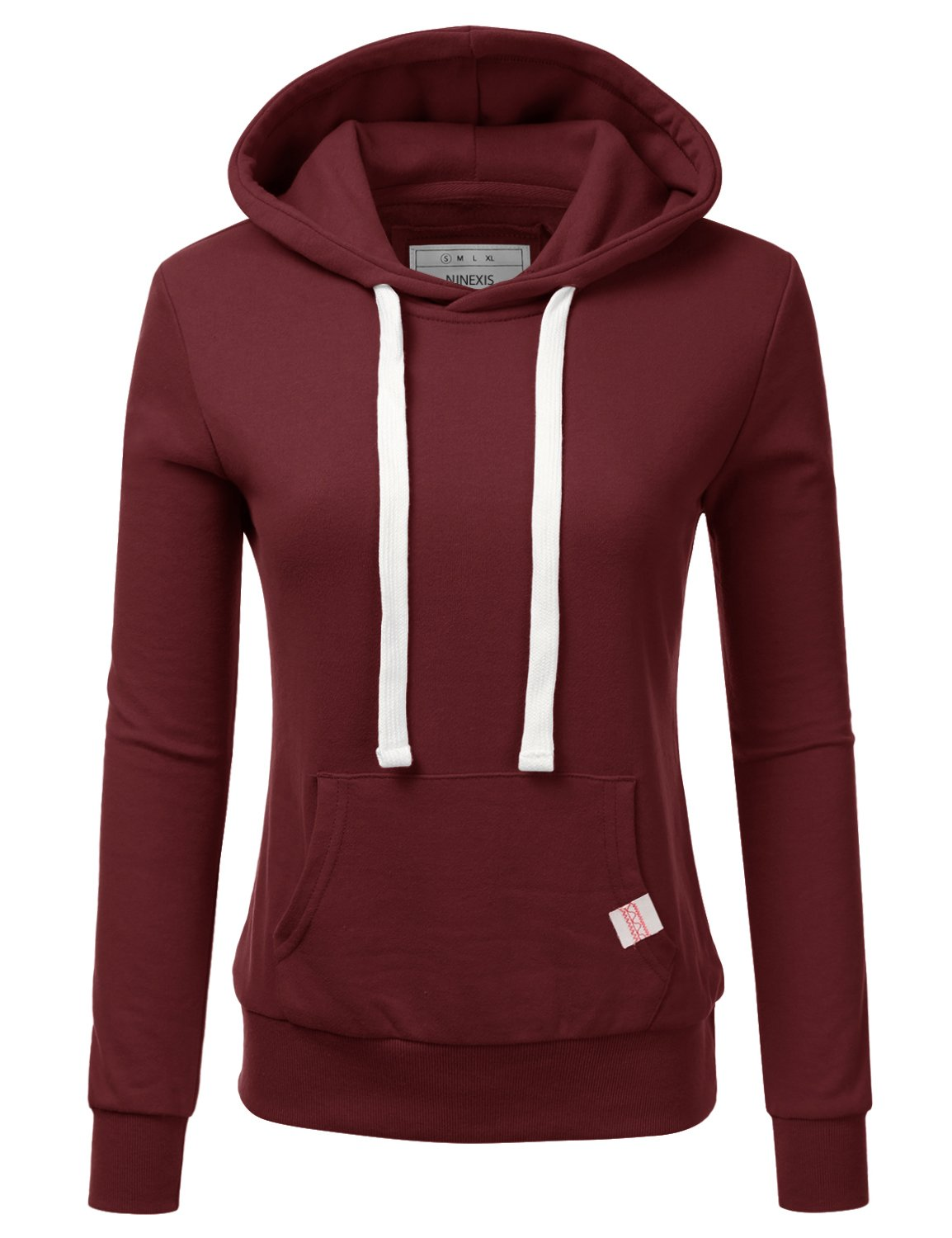 NINEXIS Womens Long Sleeve Fleece Pullover Hoodie Sweatshirts BURGUNDY L