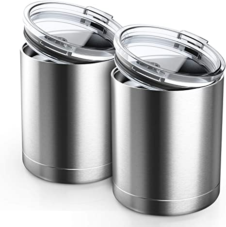 Double Wall Vacuum Insulated Metal Drinking Cups Tumbler Travel Coffee Cup for Home Office Outdoor Beasea 2pcs Stainless Steel Tumbler with Lids Stainless Steel Cups 13.5oz