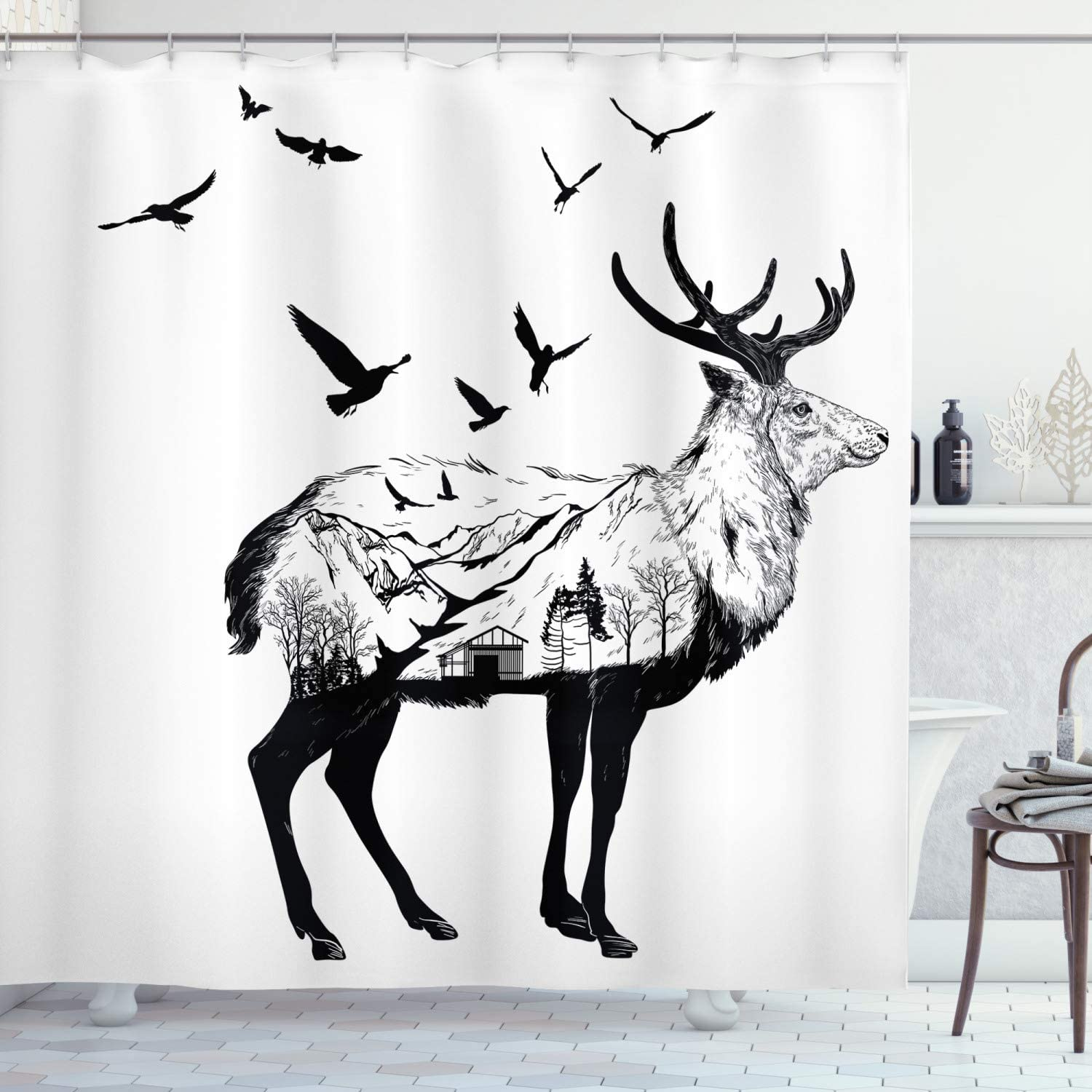 Ambesonne Animal Shower Curtain, Mountain and Cottage Scene in Hand Drawn Birds Countryside Wildlife Themed Print, Cloth Fabric Bathroom Decor Set with Hooks, 75