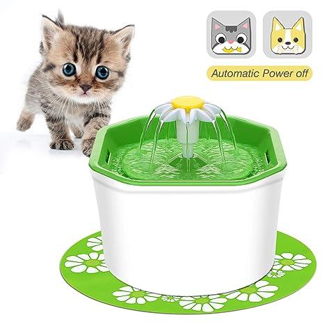 VITCOCO Bebedero Gatos, Apagar automáticamente Fuente de Agua para Mascota para Gatos 1.6 litros de Gran Capacidad con 2 filtros de carbón