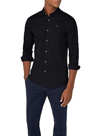 ef315023c Tommy Jeans Men's Original Stretch V-Neck Slim Fit Casual Shirt, Black ( Tommy