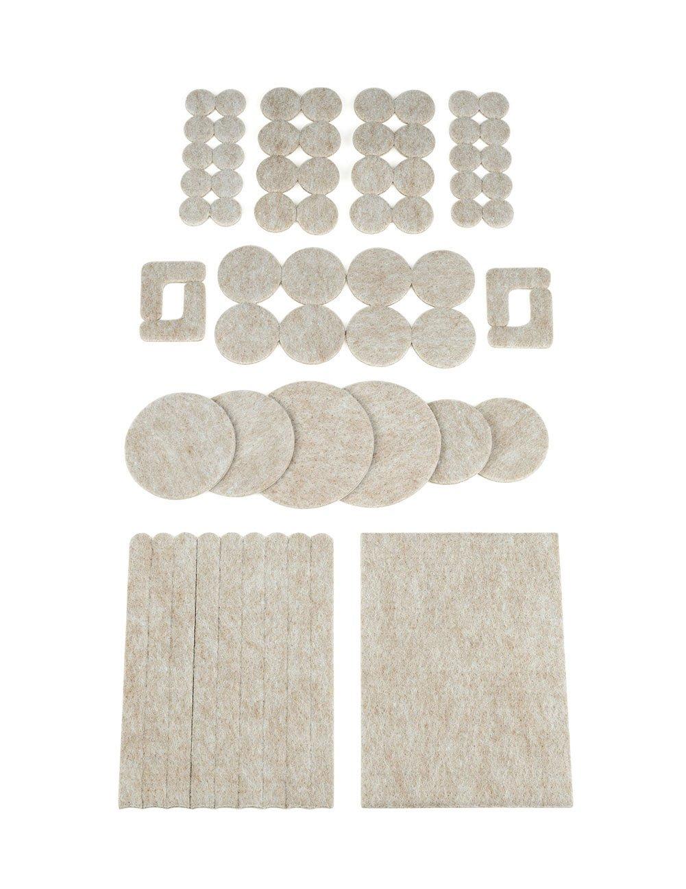 The Felt Store Selezione di Pattini Feltrini Pellicole Protettivi Tappetini Capertura Cappuccio per gambe delle sedie, tavole, mobilia, Kit con 64 pezzi, beige - Made in Kanada