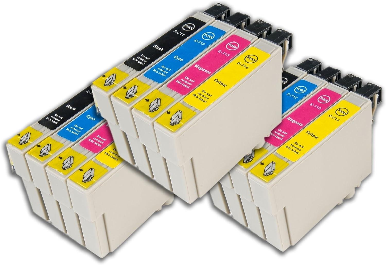 Epson Stylus Sx218 Compatible Ink Cartridges Cyan Magenta Yellow Black 12 Ink Cartridges With Latest Chip Bürobedarf Schreibwaren