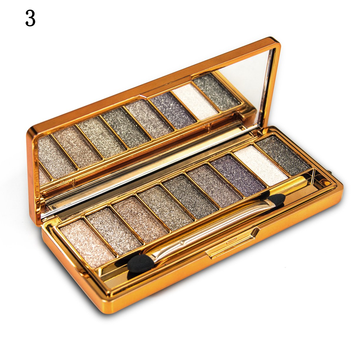 Sporthway Women 9 Colors Waterproof Make UP Glitter Eyeshadow Palette with Brush (Color 3)
