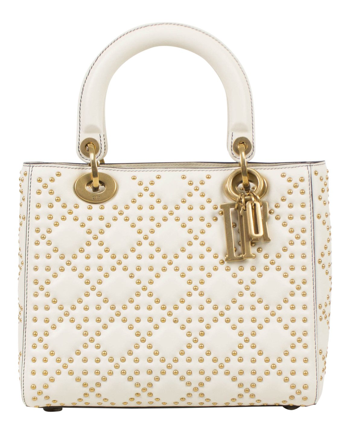 1f141c2bee Amazon.com: Christian Dior Lady Dior White Leather Studded Handbag: Baby