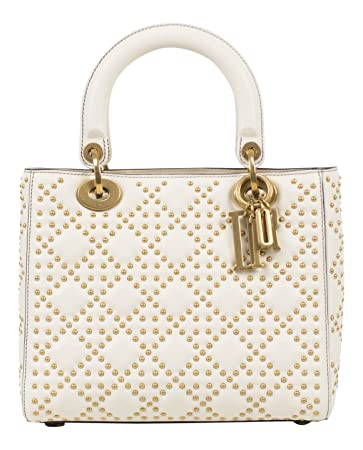 Image Unavailable. Image not available for. Color  Christian Dior Lady Dior  White Leather Studded Handbag 549fe6e25b552