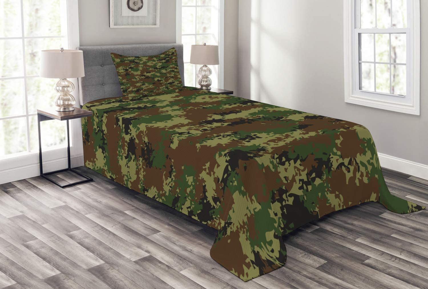 Ambesonne Camo Bedspread, Grunge Graphic Camouflage Summer Theme Armed Forces Uniform Inspired Dark, Decorative Quilted 2 Piece Coverlet Set with Pillow Sham, Twin Size, Pale Green