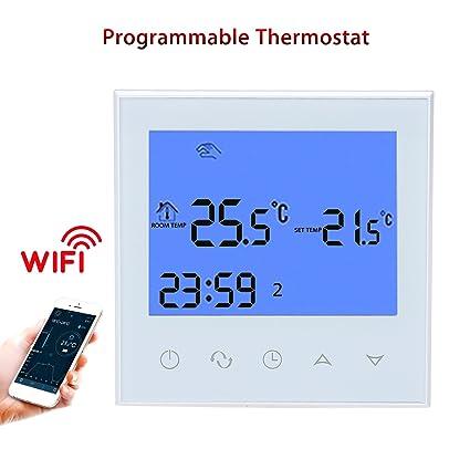 Termostato programable WiFi, pantalla táctil LCD, temperatura del aire acondicionado, control de temperatura