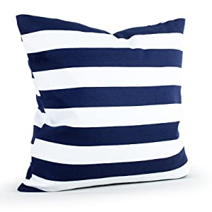 Four L Decorative Cotton Canvas Square Throw Pillow Handmade Cushion Case with Hidden Zipper Closure, Navy Blue Stripe Toss