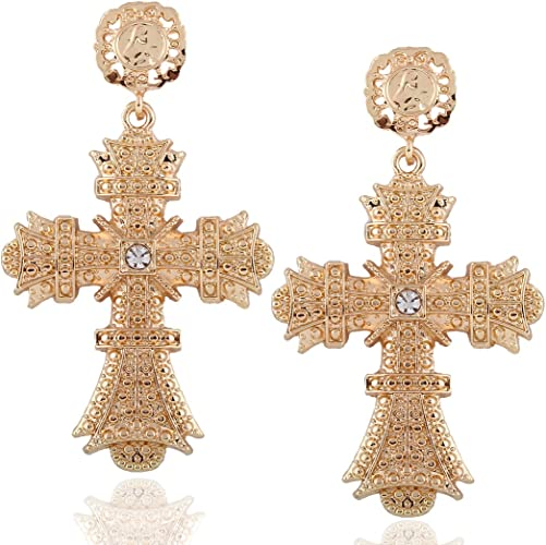 Women Gothic Statement Gold Plated Big Cross Drop Earrings Dangle Earrings Gift
