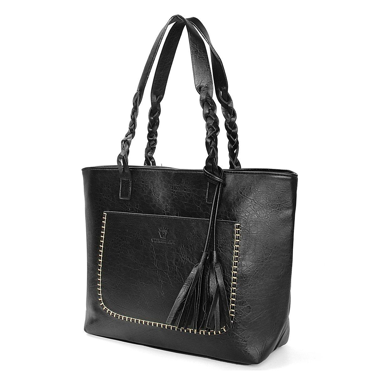 64bc009a6b7 Amazon.com  Women Vintage Tote Bag, OURBAG Ladies PU Leather Tote Shoulder  Bag Handbag Purse Big Large Black  Clothing