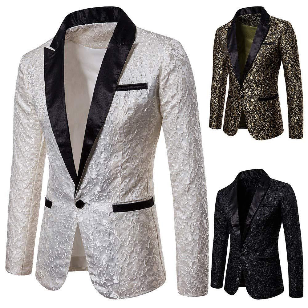 Longra-Uomo Giacca Elegante Vestito da Uomo Slim Fit Cappotto Giacca Blazer in Paillettes Uomo Giacca Costume Festivo Vestito da Festa Top Outwear Oro Rosso Argento