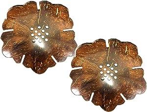 Thai JJ Mart 2 Pieces Cute Leaf Wooden Coconut Shell Soap Case Holder, for Sponges Bathroom Sink Deck Shower Tray in Bed Room,Shrine Shelf, Home and Spa Resort,Garden,Gar