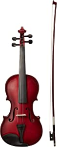 AmazonBasics Beginner Violin Bundle, Full Size, Solid wood,Red - Bow, Strings, Strap, Tuner, Rosin, and Case