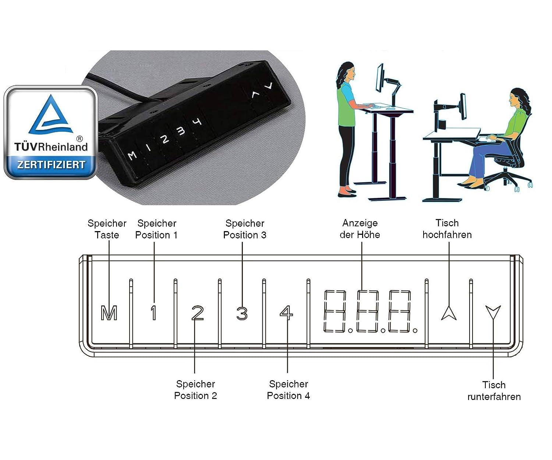 Exeta ergoSMART Elektrisch h/öhenverstellbarer Schreibtisch -System T/ÜV Rheinland Zertifiziert- mit 2 Motoren 3-Fach-Teleskop Memory-Funkt h/öhenverstellbares Tischgestell wei/ß und Softstart//-stopp