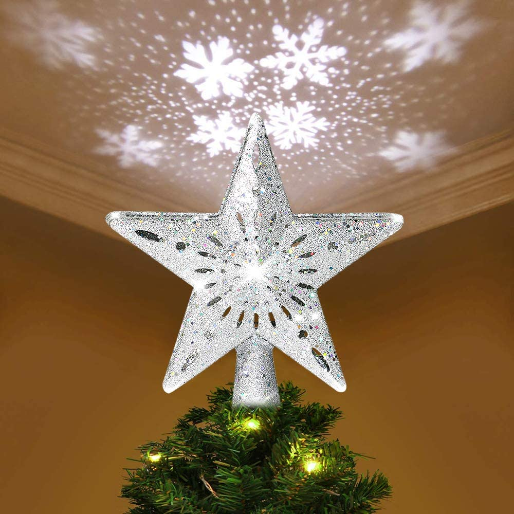 Gold Metal Snowflake Shape Christmas Tree Topper for Christmas Tree Decorations Benjia Christmas Tree Topper with 3D Glitter Adjustable Rotating Magic Rainbow Projector Lights