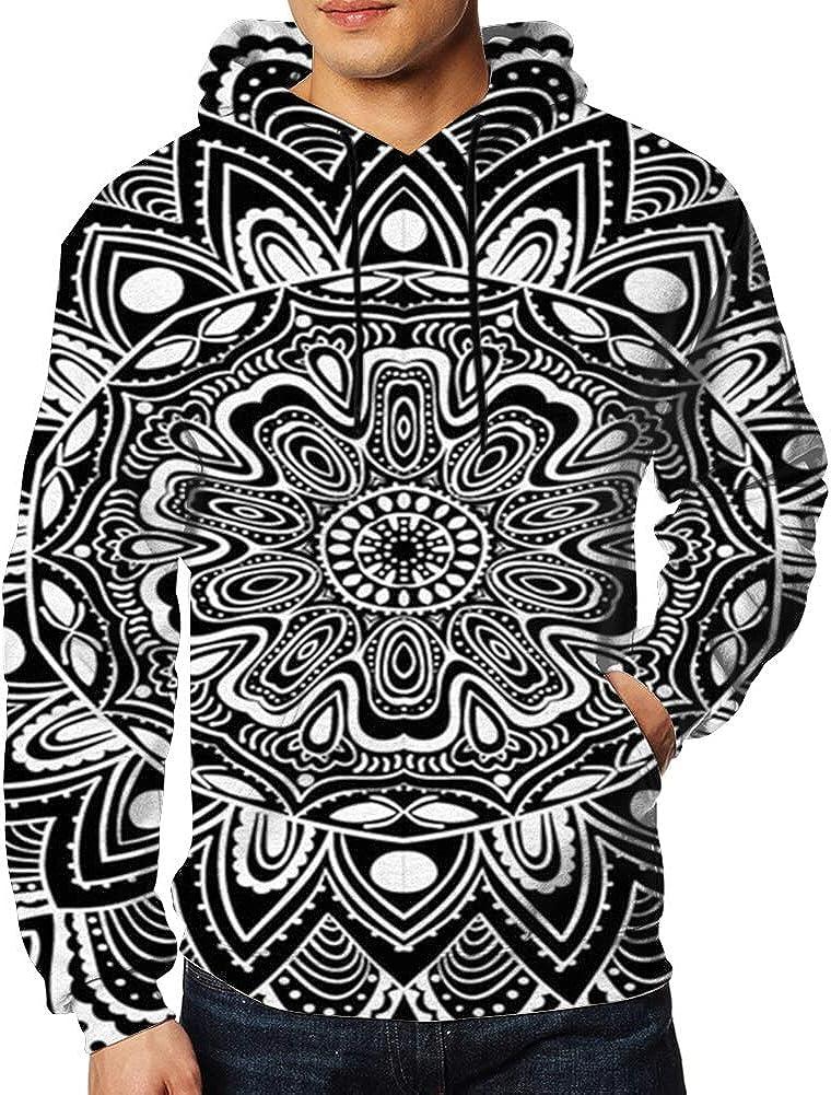 Monochrome Tropical Depicting Hoodie Sweatshirt Classic for Men 2XL