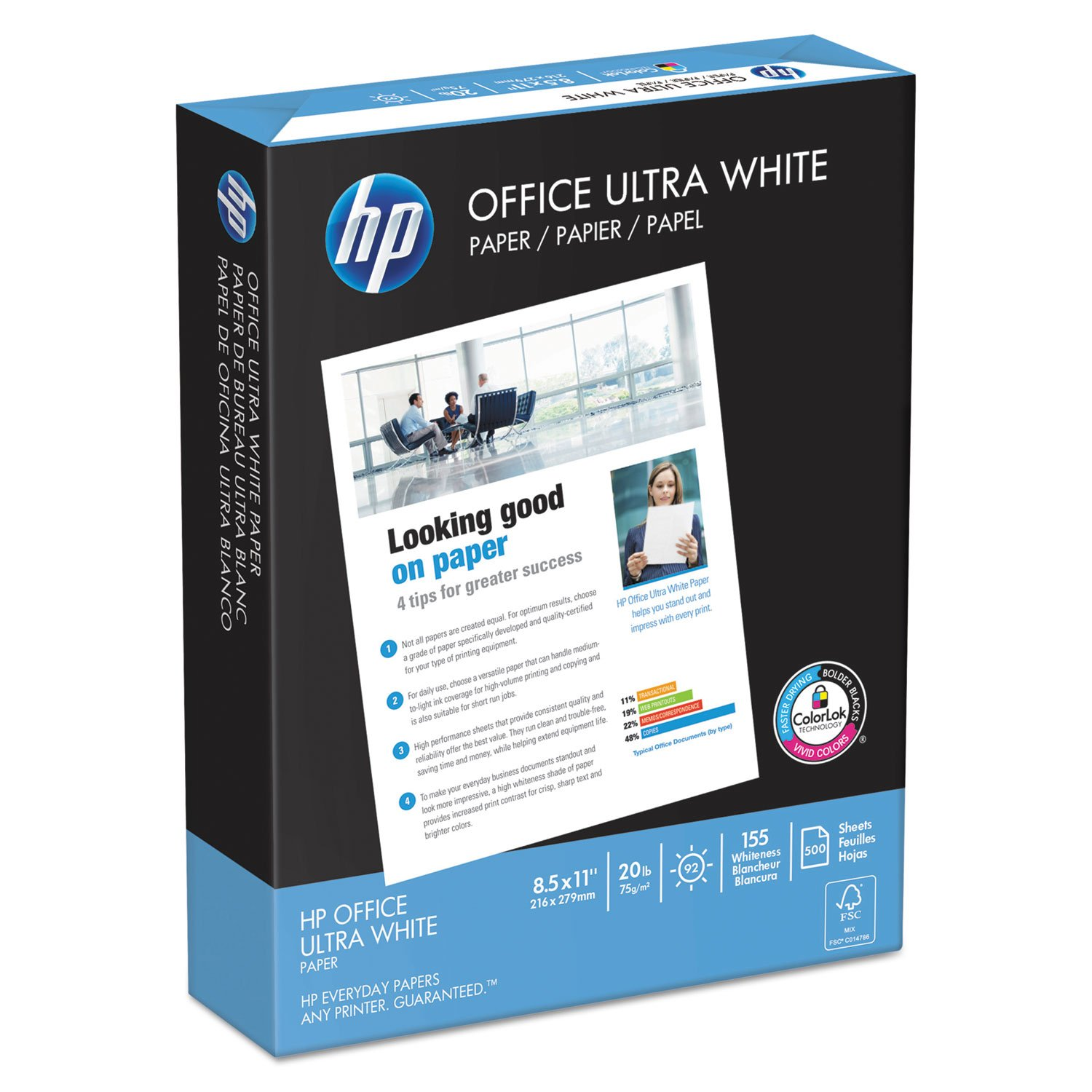 HP Printer Paper, Office20 Paper, 8.5 x 11, Letter Size, 20lb, 92 Bright, 10 Ream Case / 5,000 Sheets (112101C) Acid Free Paper by HP Paper (Image #2)