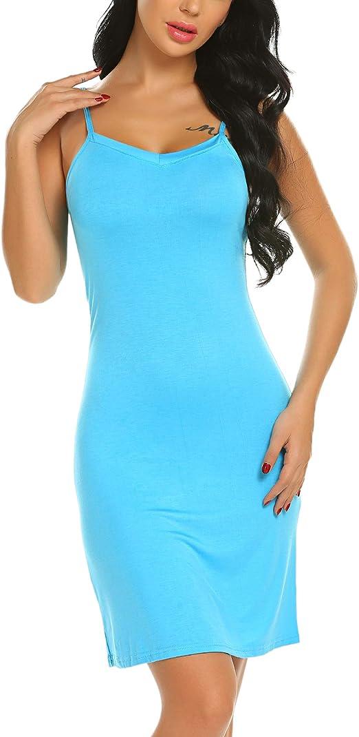 Women Full Slips Cotton Blend V Neck Straight Dress