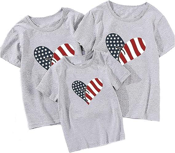 RENDONG Bandera Americana Camiseta Mujer Estampado de corazón Manga Corta Algodón Mezclado Suave Ligero Familiar Camisa Día Independencia Valiosos Regalos para Padres e Hijos,B S: Amazon.es: Hogar