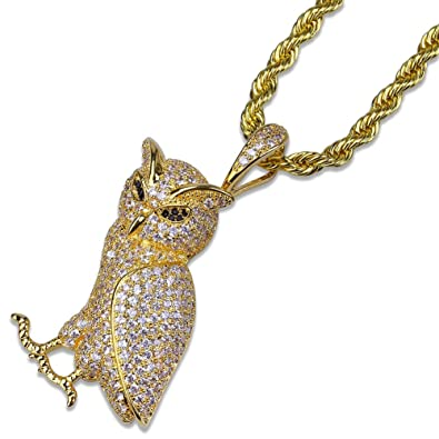 MCSAYS Hip Hop Jewelry Bling Cubic Zirconia Owl Pendant Rope Chain  Stainless Steel Iced Out Necklace Fashion Accessories Gifts(Gold)   Amazon.co.uk  ... 1b8e159ddb59