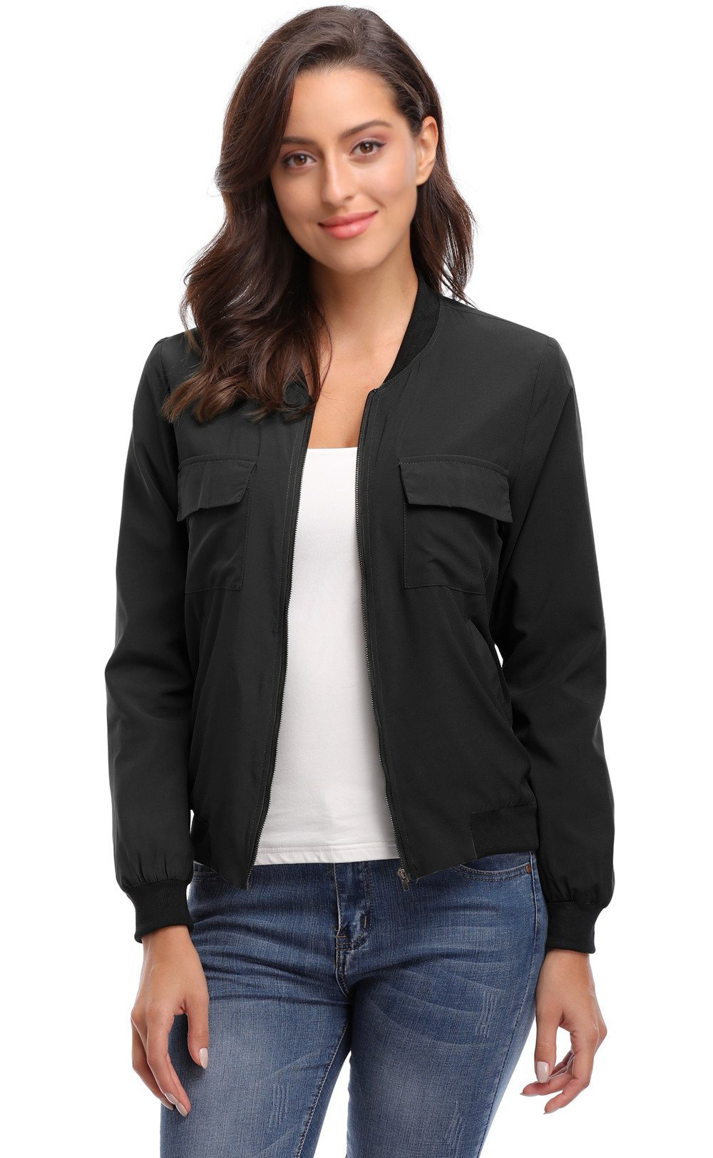 MISS MOLY Women's with Lining Zip Up Lightweight Coat Rib Collar Multi-Pockets Bomber Jacket