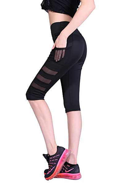 KnSam Sportswear Leggings Pants Polyester Mesh Sides Workout ...