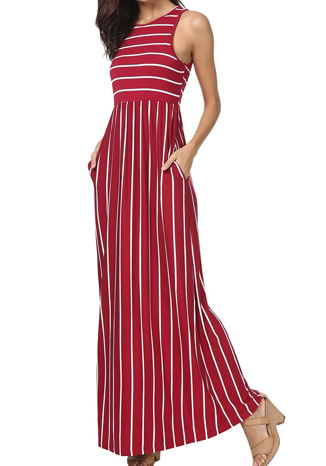 76b0cb7c3c436 Online Cheap wholesale levaca Womens Summer Sleeveless Striped Pockets  Flowy Casual Long Maxi Dress Casual Suppliers