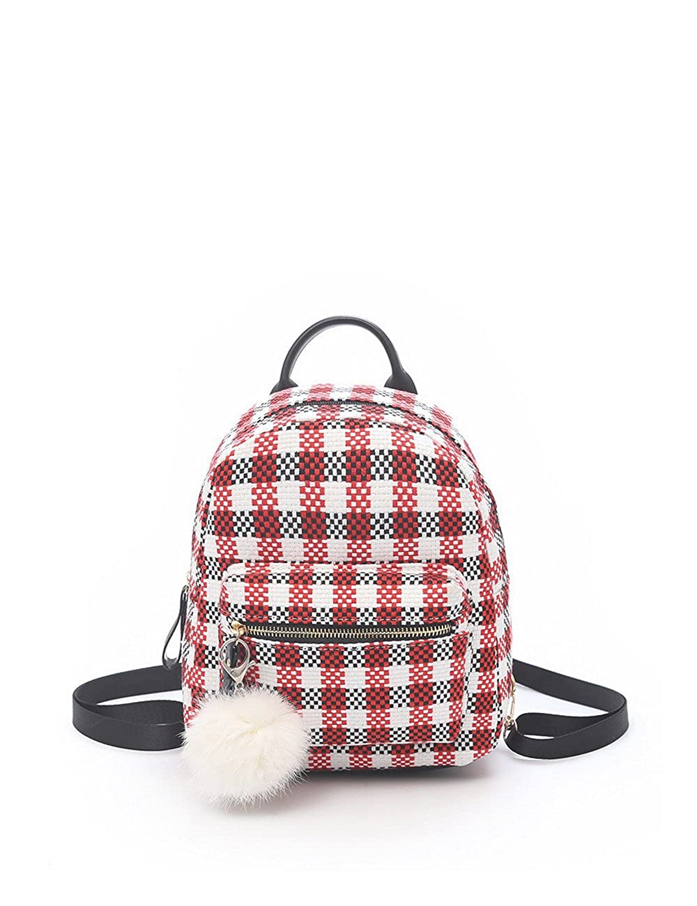 K.X.S Womens Backpack Casual Leisure Color Block Plaid Fashionable Back Bag Color Red