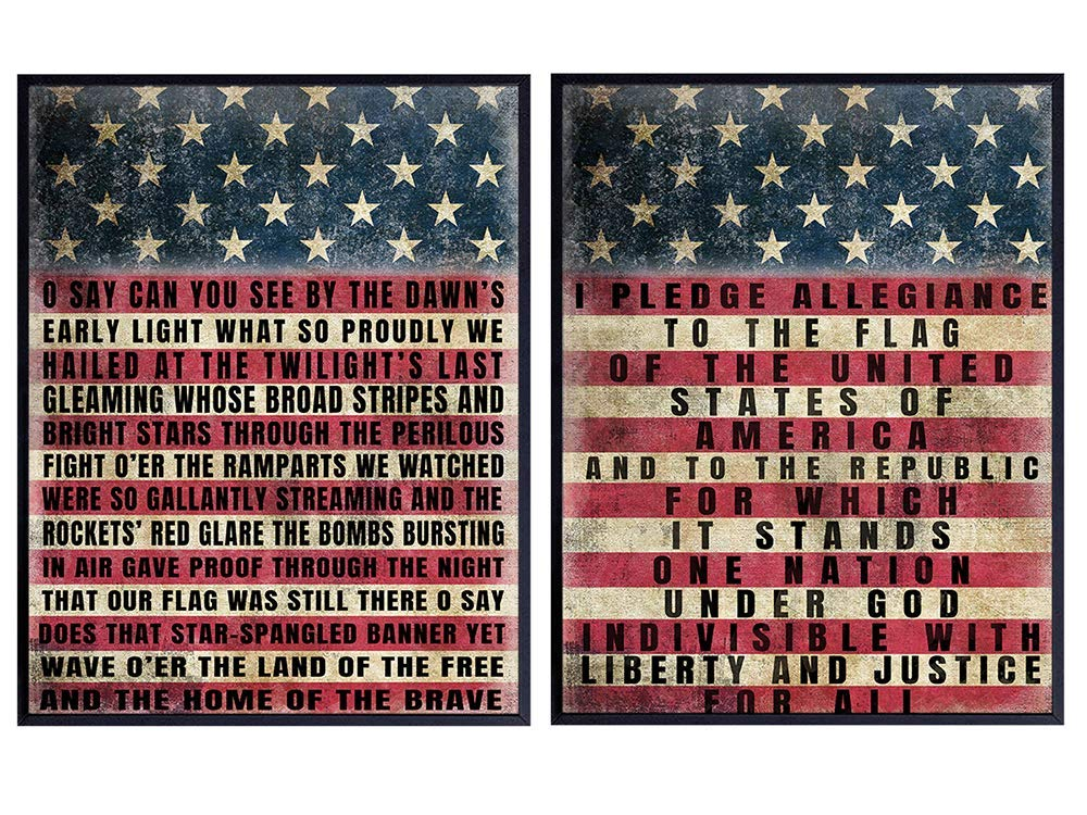 Patriotic USA American Flag Wood Sign Replica Poster Photo Set - Vintage Farmhouse Shabby Chic Room Wall Art Decoration, Home, Office Decor - Gift for Military Veteran, Vets, Republican Patriots 8x10