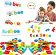 Seeing and spelling words learning toys, matching letter spelling games, sight games, English alphabet early education cognitive toys, educational preschool toys, toys suitable for 2-4 years old boys learning-best gift (52 letter blocks)