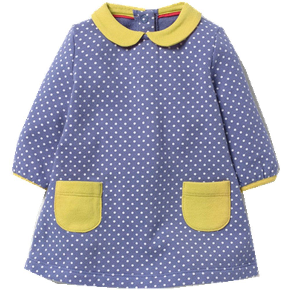 Kids Baby Girls'Pure Cotton Polka Dots Full Sleeve Dress Autumn 2-7 years