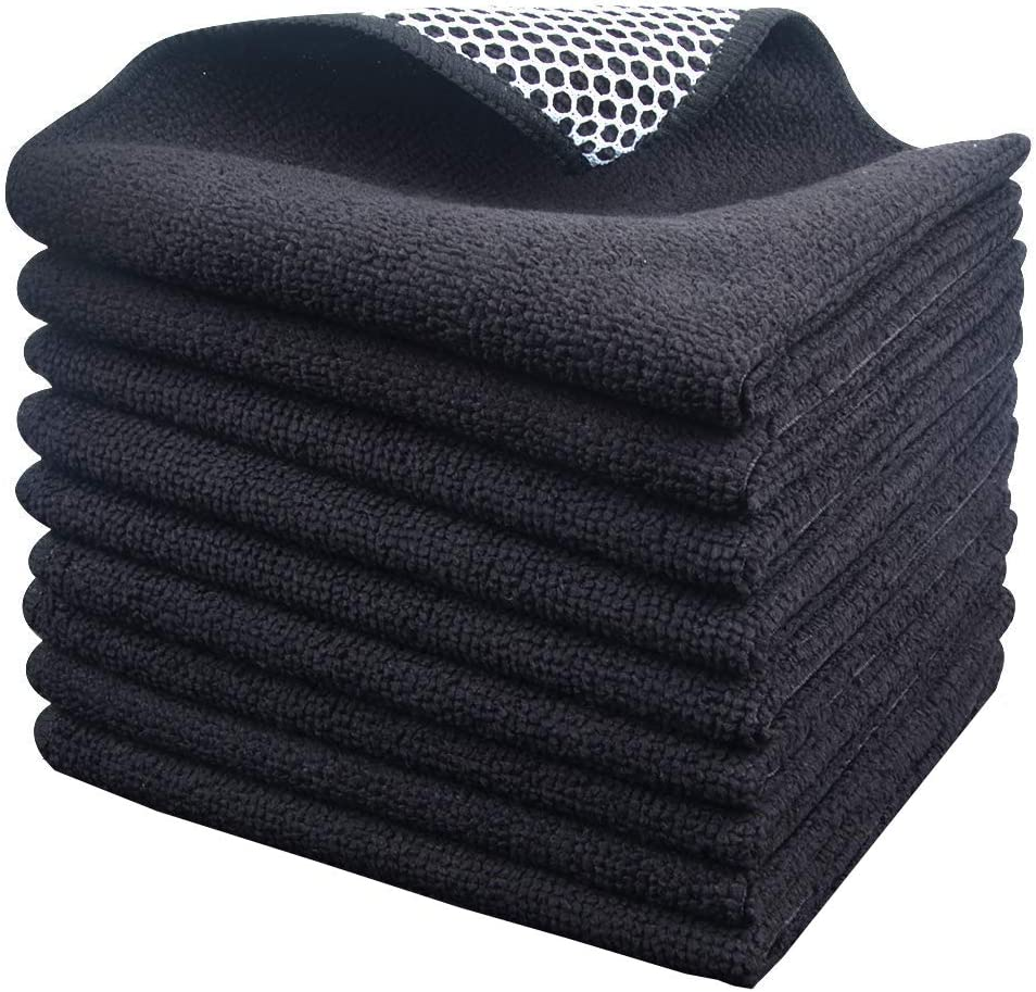 KinHwa Microfiber Dish Cloths Super Absorbent Kitchen Wash Cloth Dish Rags for Washing Dishes Fast Drying Cleaning Cloth with Scrub Side (Blackx9, 12inchx12inch)