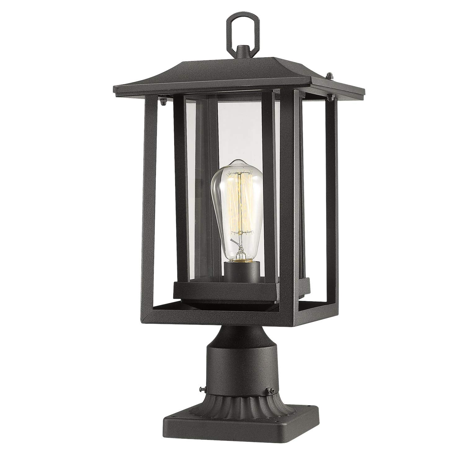 Outdoor Post Light, Beionxii 1-Light Exterior Post Lantern in Matte Black Finish with Clear Glass Panel Shade, Includes Post Base