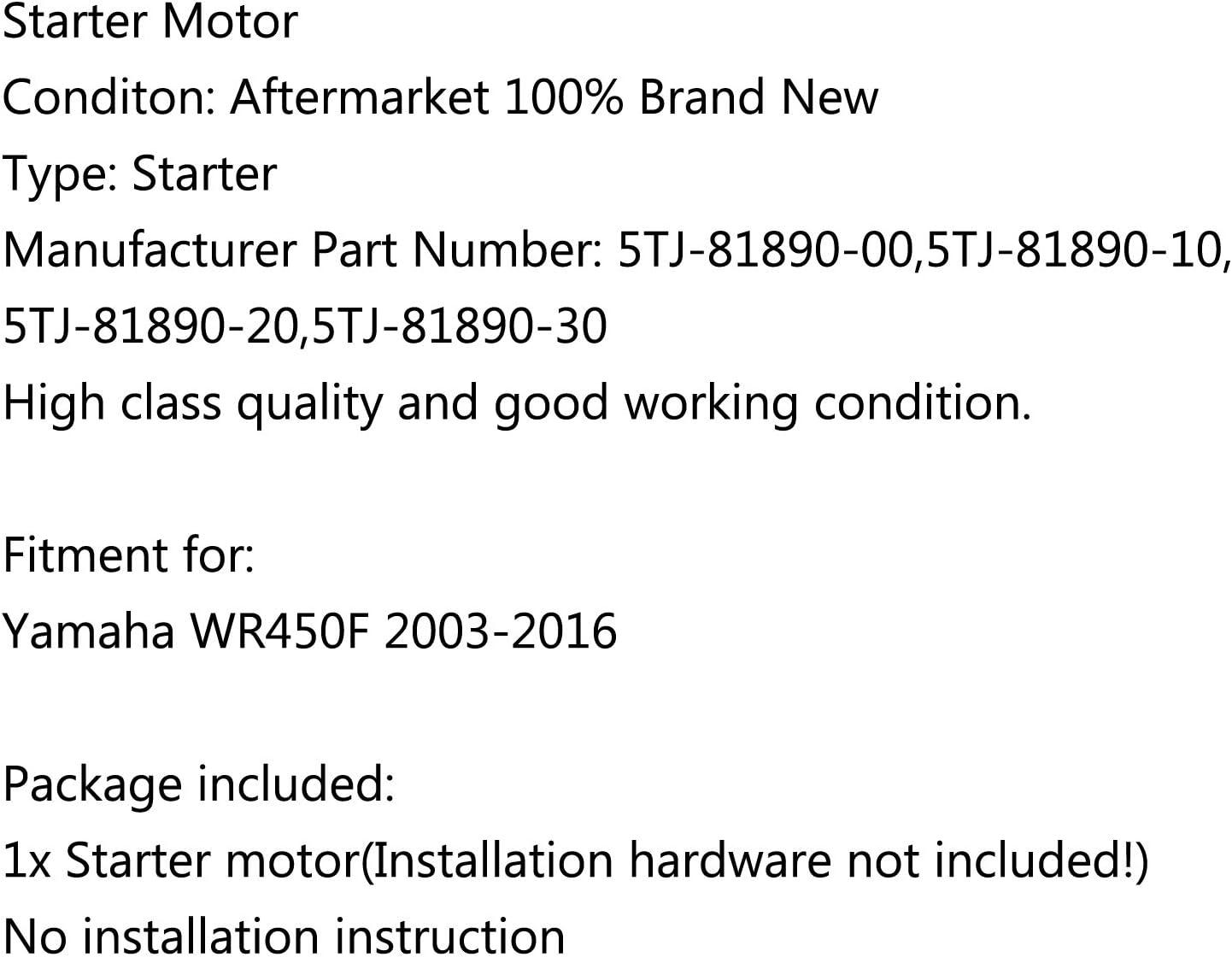 Topteng 5TJ-81890-00 Motor de arranque para Yamaha WR450F 2003-2006