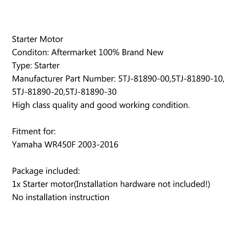 Artudatech Motorrad-Startermotor Motorrad-Startermotor Ersatz f/ür Yamaha WR450F 2003 2004 2005 2006