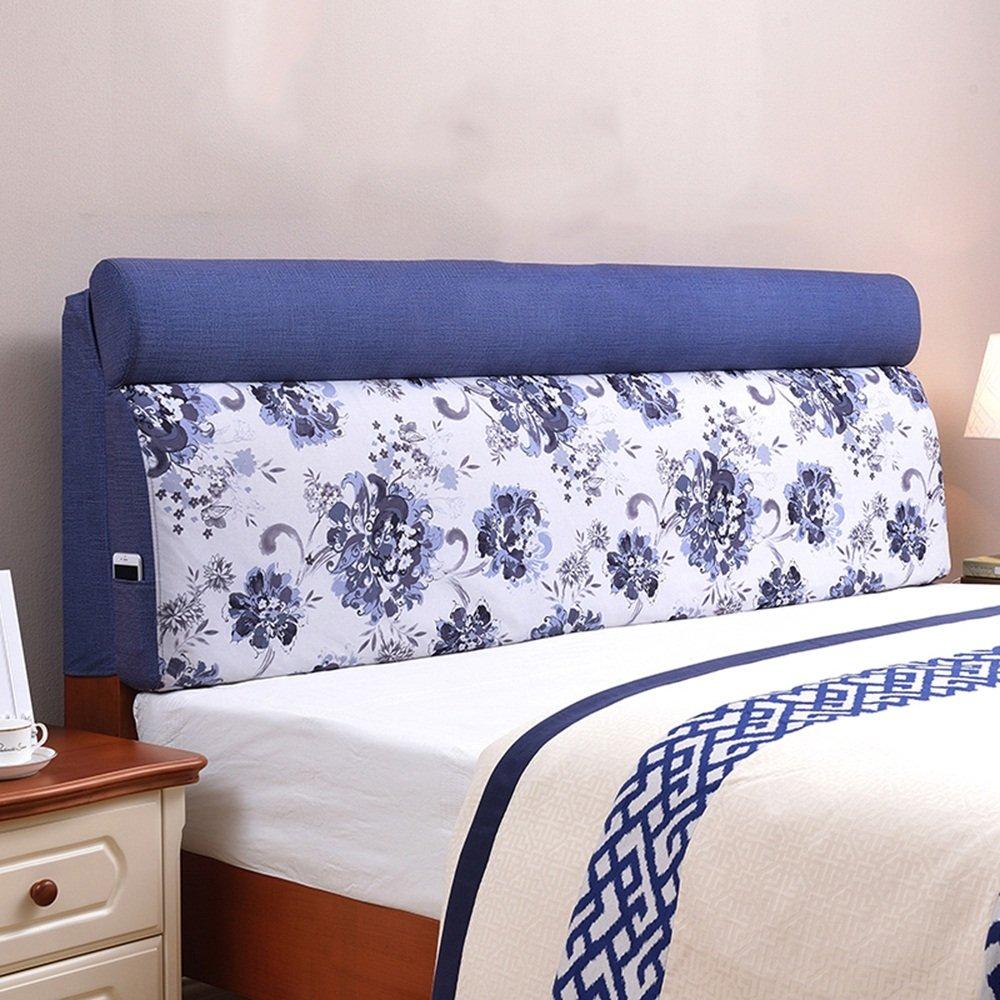 Children's bed large back pad / European fabric removable washable bedside cushion soft bag / ( Size : 1556012cm )