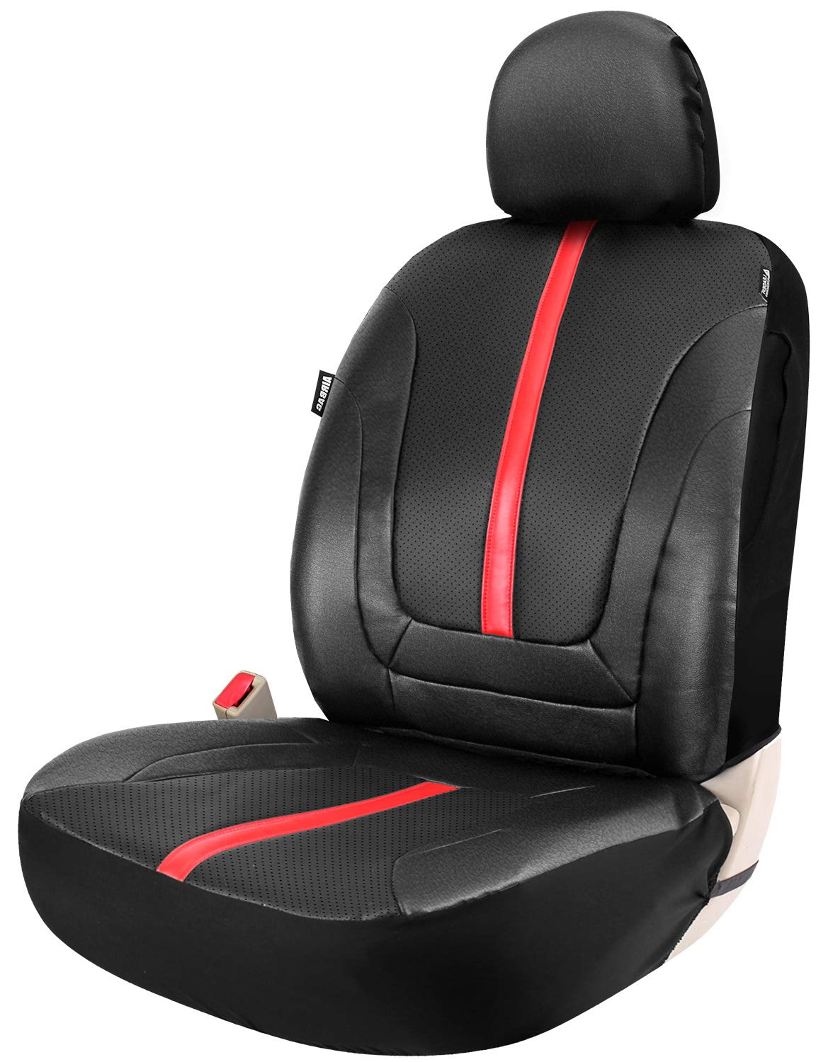 Leader Accessories Platinum Vinyl Universal One Faux Leather Front Seat Cover for Car Trucks SUV with Airbag Black/Grey