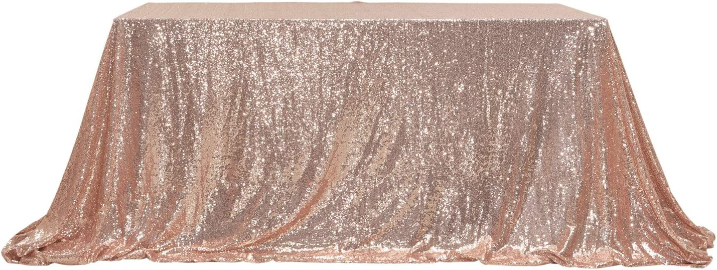 "PartyDelight Sequin Tablecloth, Wedding, Sweetheart, Christmas Tree, Rectangular, 48""x72"", Rose Gold"