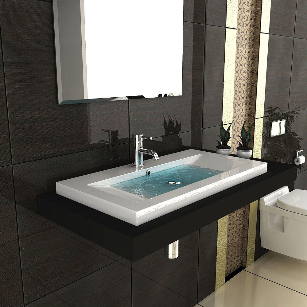 Modernes Badezimmer Aufsatzbecken Aus Mineralguss Hochglanz Waschbecken  Becken 90 Cm Breit Gäste WC Lösung: Amazon.de: Baumarkt