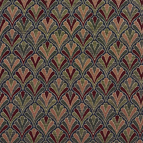 - Navy Fan Burgundy Red Rust Coral Orange Persimmon Dark Blue Dark Green Small Scale Tapestry Upholstery Fabric by the yard